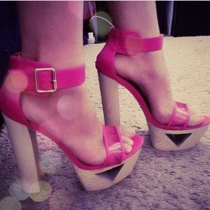 Shoes - pink ankle strap heels
