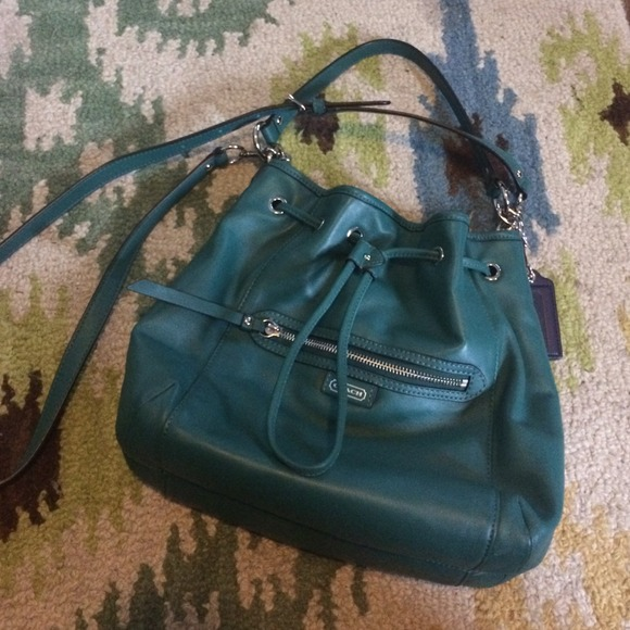 2881741acf ... reduced authentic coach teal green leather bucket bag 298f9 89528
