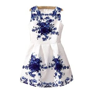 BRAND NEW White with blue sleeveless Flare dress