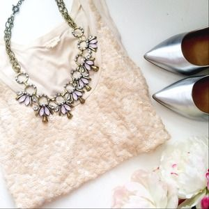 Brand New Pink & Gold statement necklace