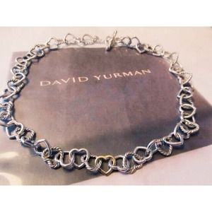 David Yurman 18k cable heart linked necklace
