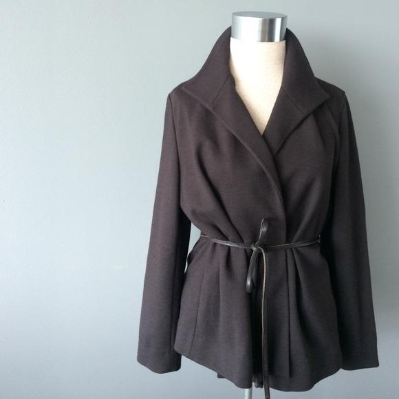 Adrienne Vittadini brown wool blend coat