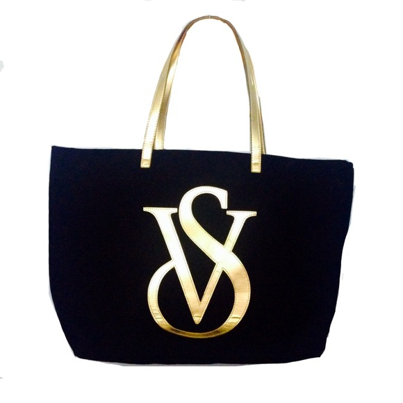 de4c8da70c718d Victoria's Secret black and gold big tote bag. M_53c57b41e6ce282175247c5f
