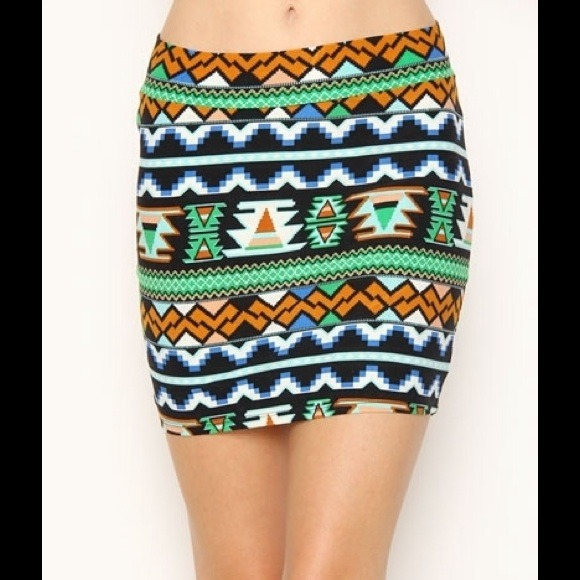 81% off Dresses & Skirts - Aztec Tribal Multicolor pencil skirt ...