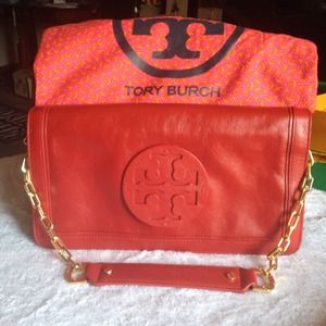 ✨TORY BURCH✨Red Reva Suki Leather Clutch/Bag