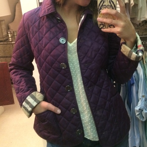 52% off Burberry Outerwear - BRAND NEW Burberry Brit Quilted ... : burberry purple quilted jacket - Adamdwight.com