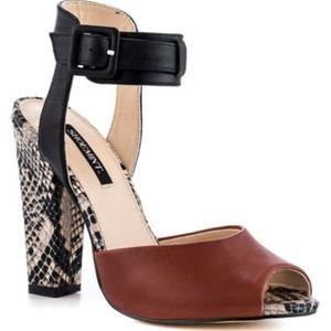Shoemint brown and snake print heels