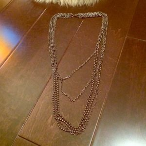 Layered metallic beaded necklace