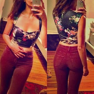 Tops - Nasty gal crop top floral bustier s/m
