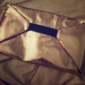 Handbags - Gold Clutch with Chain Strap