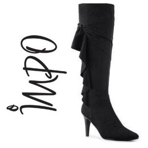 Vegan Suede Black Flirty Boots