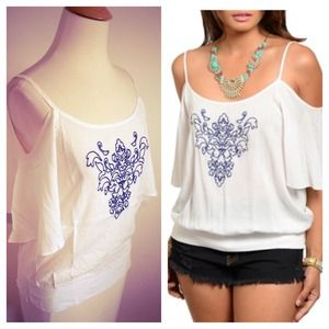 SALE White Cold Shoulder Top + Blue Embroidery