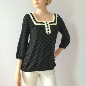 Pin dot black and white lace neckline blouse
