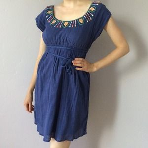 Embroidered neckline gauzy folk peasant dress