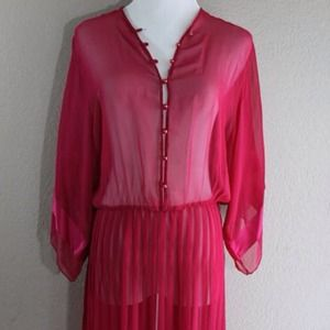 Sheer pink vintage dress with pleated skirt