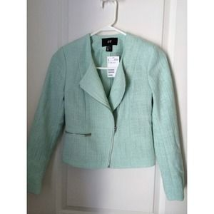 H&M, mint jacket with silver detail