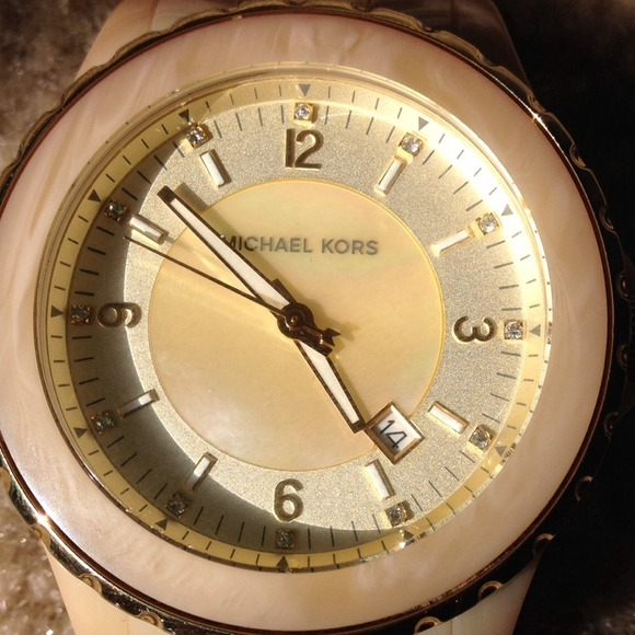 Michael Kors mother of pearl face watch, rare!