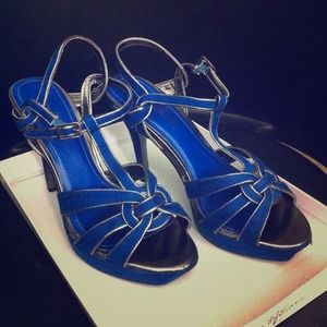 "Royal blue silver stiletto platform 4.5"" heels"