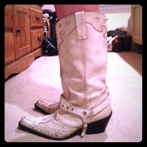 Distressed white leather MIA cowboy boots