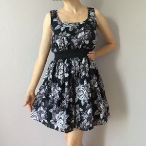 Purple, gray, and black belted floral sundress