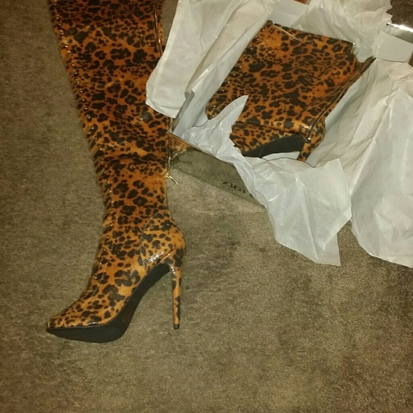 36% off ZigiNY Shoes - ZigiNY Piarry Leopard Thigh High Boot from ...