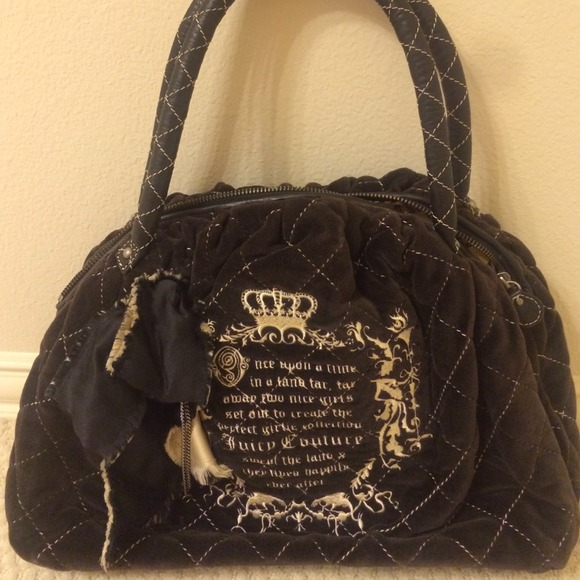 Juicy Couture Bags   Lady In Waiting Black Velour   Poshmark fdce3bac32