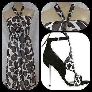 Pretty, flirty & girly halter giraffe print dress