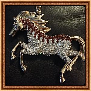 Accessories - 18k YGP Austrian Crystal Horse Keychain