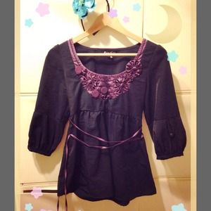Tops - Pheasant Top with 3/4 puff sleeve & Tie waist