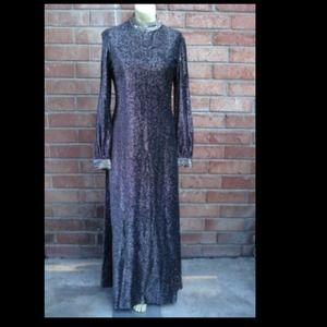Long sleeve matellic sequin dress