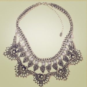 ZARA Silver and Moonstone Bib necklace!