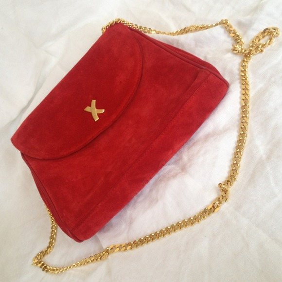 9 Off Paloma Picasso Handbags Red Suede Amp Gold Chain