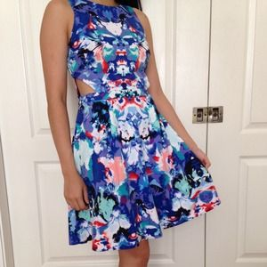 nicole by nicole miller Dresses - Blue mirror print cut out dress 1