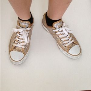 Gold sequin glitter converse sneakers size 7 7.5