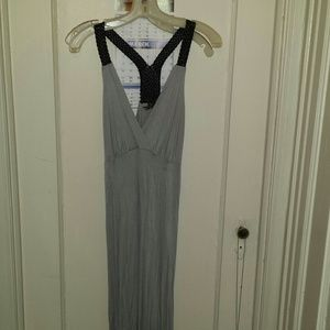 Dresses & Skirts - SexyGray maxi dress with faux leather woven straps