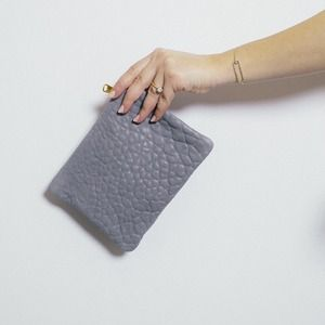 American Apparel Clutches & Wallets - Grey leather pouch