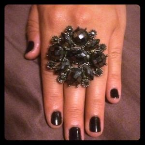 oversized black flower ring
