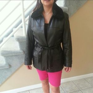 Kenneth Cole Leather Jacket with Fur Collar