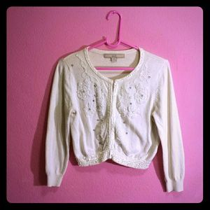 Ivory Beaded & Sequin Petite Cardigan Sweater Sm