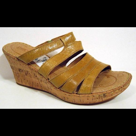 8aea6529cc65 Born  Lisi  Mustard Patent Leather Wedge Sandal