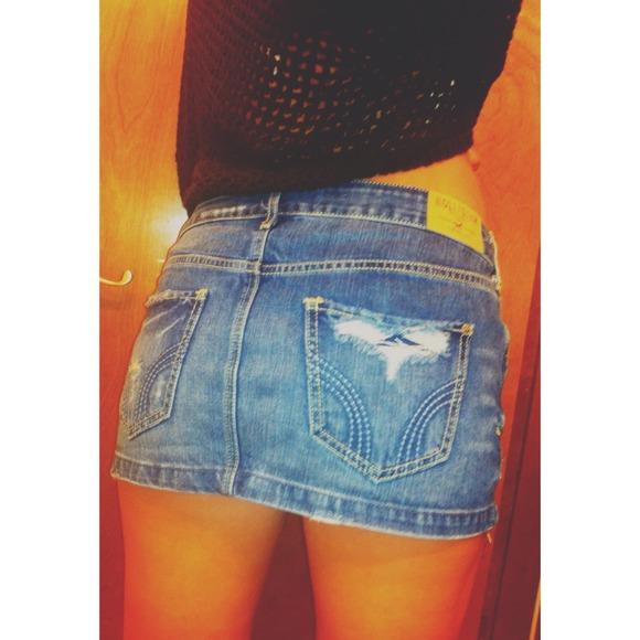 55% off Hollister Dresses & Skirts - Hollister Denim Mini-Skirt ...