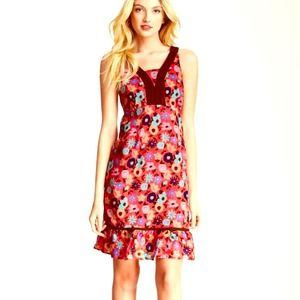 FUNKY PEOPLE A Line Floral Shift Crochet Midi NWT