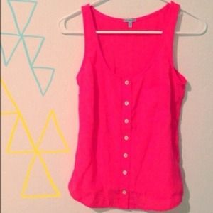 Charlotte Russe Tops - ⚡️final price⚡️ Neon coral button up tank top
