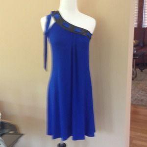 Akiko Dresses & Skirts - Akiko Cobalt One Shoulder Dress sz Small SALE 20%