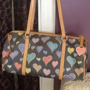 Authentic Dooney & Bourke heart pattern barrel bag