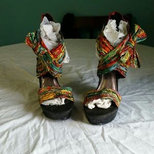 Brand new multicolored wedges size 8.5