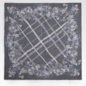 Valentino Floral Lace Overprint Grey Scarf NWOT
