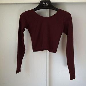 ☀️FLASHSALE☀️ Burgundy Long Sleeve Crop Top