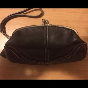 Authentic Coach leather wristlet
