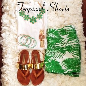 Old Navy Tropical Green and White Shorts